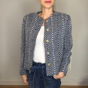 Vintage Navy White Tweed Gold Button Blazer Jacket